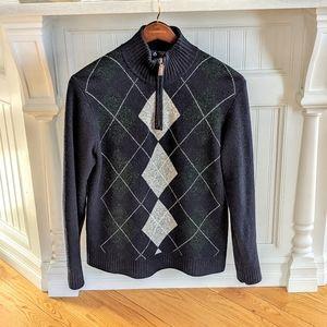 J.Crew Lambswool Argyle Pullover 1/2 zip Sweater